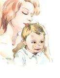 儿童母亲 库存照片