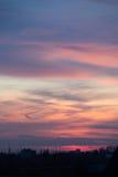 Золотой заход солнца в горизонт Лондоне, Великобритании Стоковое фото RF