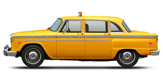 减速火箭的方格的纽约黄色出租汽车侧视图 库存图片