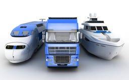 运输 火车、卡车和游艇 免版税库存照片