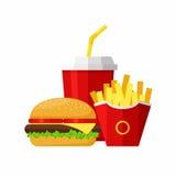 Χάμπουργκερ, τηγανιτές πατάτες και σόδα μεσημεριανού γεύματος Προϊόντα γρήγορου φαγητού ομάδας Στοκ Εικόνα