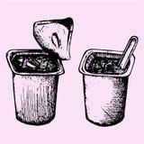 有匙子的酸奶杯子 库存照片