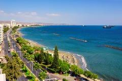 利马索尔海岸线鸟瞰图,塞浦路斯 免版税图库摄影