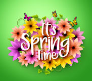 Σχέδιο χρονικών αφισών άνοιξη στα ρεαλιστικά τρισδιάστατα ζωηρόχρωμα διανυσματικά λουλούδια Στοκ Εικόνα