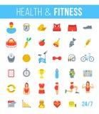 健身健身房和健康生活方式平的传染媒介象 免版税库存图片