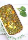Испеченный омлет с шпинатом Стоковое Фото