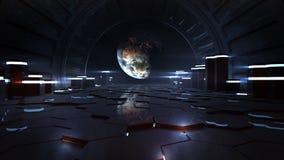 Αλλοδαπό διαστημικό εσωτερικό σταθμών που παρατηρεί τη γη Στοκ Εικόνες