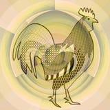 竖起,在类似有薄雾的早晨太阳,中国占星,雄鸡的年的标志的抽象米黄背景的黑图画 免版税库存图片