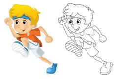 跑的孩子和的体育-体操- -着色页 免版税库存照片