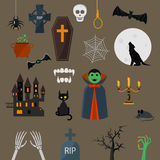 Элементы шаржа дизайна характера вампира вектора значков Дракула установленные Стоковое фото RF