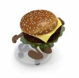 与胳膊和腿的汉堡在平衡 图库摄影