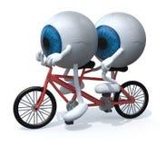 乘坐一前一后的两个蓝色眼珠 免版税库存照片
