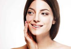 半妇女半面孔棕褐色愉快的年轻美丽的演播室画象健康的皮肤 库存图片