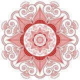 Азиатская культура воодушевила форму цветка украшения татуировки хны мандалы состава свадьбы сделанную из листьев, сердец в красн Стоковое Фото
