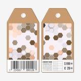 传染媒介标记在双方,纸板与条形码的销售标签设计 多角形设计,几何六角背景 图库摄影