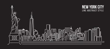 Линия дизайн здания городского пейзажа иллюстрации вектора искусства - Нью-Йорк Стоковое Изображение RF