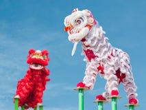 中国狮子服装舞蹈 库存图片