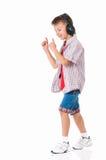 Мальчик с наушниками Стоковая Фотография