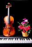 在钢琴的小提琴 库存照片