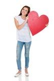 青少年的女孩心脏形状 库存图片