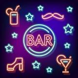 霓虹标志酒吧 免版税图库摄影