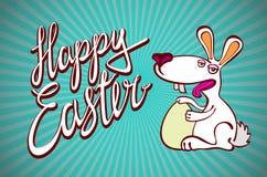 与复活节巧克力兔宝宝、复活节兔子和字体的愉快的复活节卡片例证 库存照片