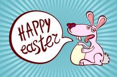 与复活节巧克力兔宝宝、复活节兔子和字体的愉快的复活节卡片例证 免版税库存图片