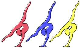 体操运动员后面轻易获胜 免版税库存照片