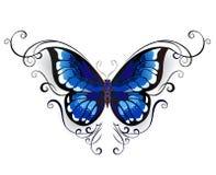 纹身花刺蓝色蝴蝶 库存照片