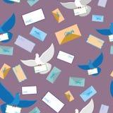 邮政鸽子鸠无缝的样式 信封和信笺纸 免版税库存图片