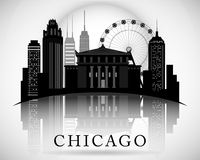 芝加哥伊利诺伊市地平线剪影 印刷设计 免版税库存照片