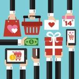 Дизайн продажи дня валентинок современный плоский Стоковые Фотографии RF