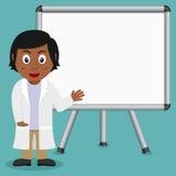 Черный женский доктор с магнитной доской Стоковая Фотография RF