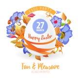 愉快的复活节飞行物或海报背景例证用复活节彩蛋、花、丝带和字体 库存照片
