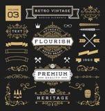 Комплект ретро винтажных элементов графического дизайна Стоковое фото RF