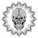 在星的微笑的人的头骨塑造背景,与被策划的和被仿造的零件的黑白图画 纹身花刺模板 库存照片