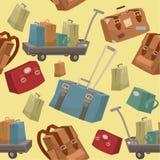 带着行李和手提箱的无缝的旅行样式 免版税库存图片