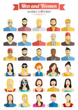 套男人和妇女具体化象 被设置的五颜六色的男性和女性面孔象 平的样式设计 库存照片