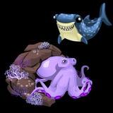 紫色章鱼和蓝鲨鱼,两个逗人喜爱的字符 图库摄影