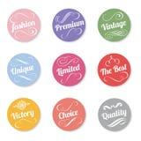 Вектора стиля пастельного цвета знамени круга дизайн винтажного установленный Стоковые Фото