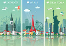 被设置的城市地平线 平的风景传染媒介例证 伦敦、巴黎和纽约市地平线设计与地标 免版税库存图片