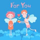 情人节假日夫妇心脏形状、男人和妇女天使举行花礼物 免版税库存照片