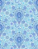 复杂蓝色佩兹利样式 库存图片