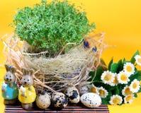 新鲜的水芹和兔子和复活节彩蛋 免版税库存图片