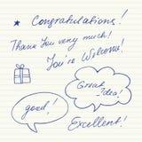 Χειρόγραφες σύντομες φράσεις Η καλή τύχη, αντίο, Καλώς ήρθατε, αντίο, γεια, σας βλέπει Στοκ φωτογραφία με δικαίωμα ελεύθερης χρήσης