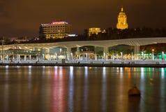 Взгляд ночи портового района Малаги Стоковые Фотографии RF