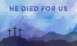 Сцена пасхи с крестом Дизайн вектора Иисуса Христоса полигональный Стоковая Фотография RF