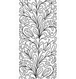 在乱画样式的无缝的边界 花卉,华丽,装饰,华伦泰,妇女天设计元素 库存照片