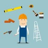 Построитель или инженер с инструментами и оборудованием Стоковое Фото