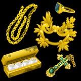 金黄首饰作为装饰和赌博的 免版税库存图片
